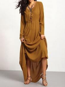 Brown Long Sleeve Lace Up Maxi Dress