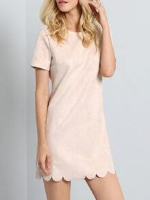 Apricot Neutral Short Sleeve Sweet Mature Ruffle Dress