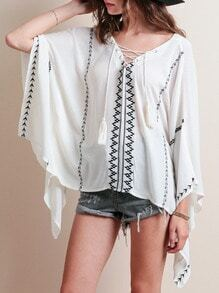 White Batwing Sleeve Embroidered Blouse