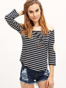 White Navy Long Sleeve Striped T-Shirt