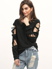 Black Long Sleeve Hollow Sweatshirt