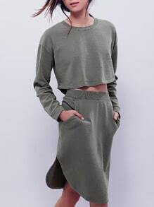 Army Green Long Sleeve Crop Top With Skirt