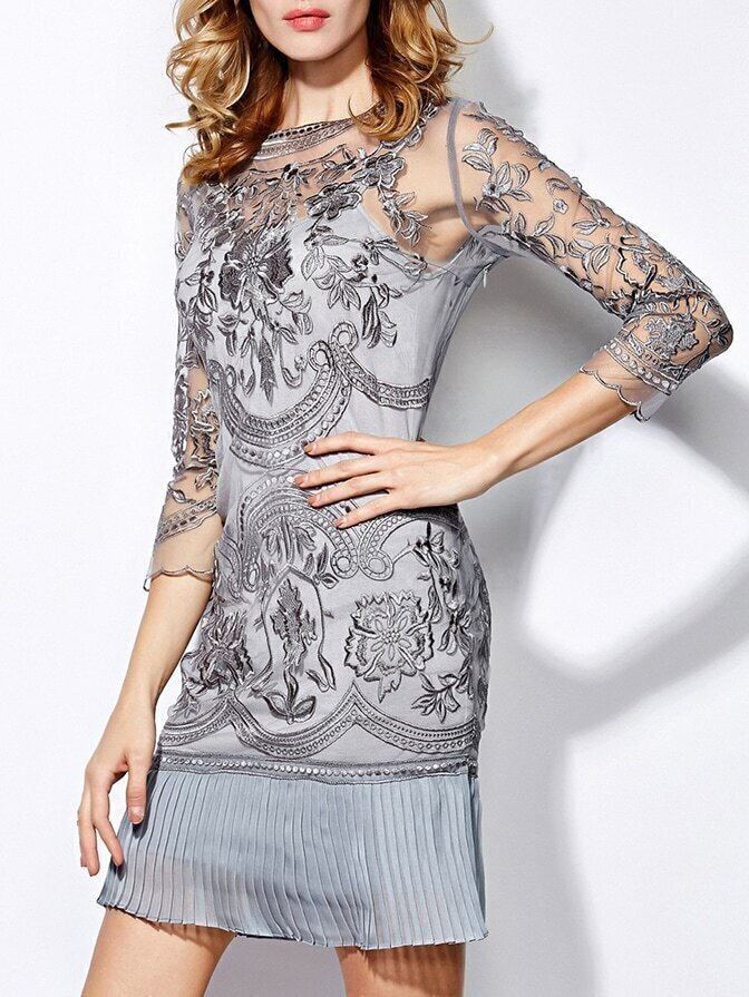 Grey Round Neck Length Sleeve Contrast Gauze Embroidered Dress