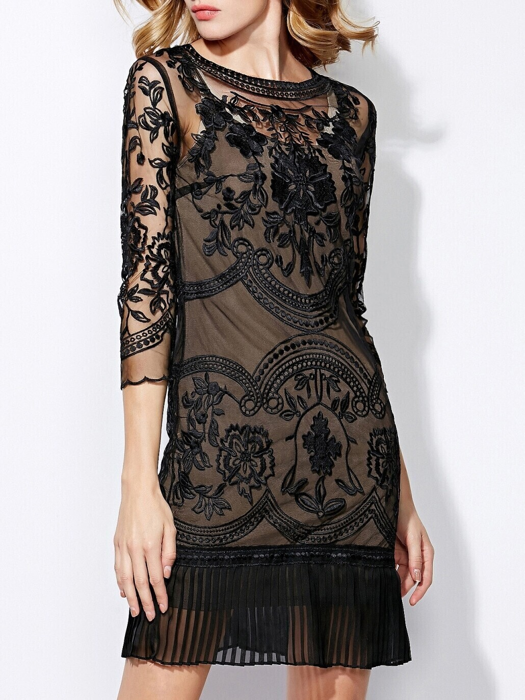 Black Round Neck Length Sleeve Contrast Gauze Embroidered Dress