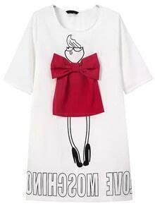 Half Sleeve Letter Print Bow Dress