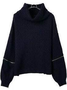 Turtleneck Zipper Navy Sweater