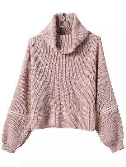 Turtleneck Zipper Pink Sweater