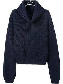Turtleneck Crop Navy Sweater