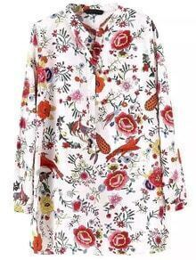 Stand Collar Florals Blouse