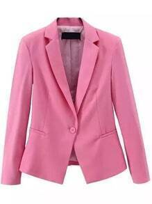 Notch Lapel Single Button Slim Pink Blazer