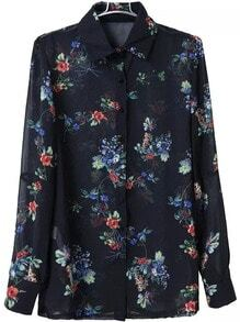 Lapel Flower Print Chiffon Blouse