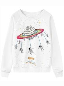 White Round Neck Space Patterned Print Sweatshirt