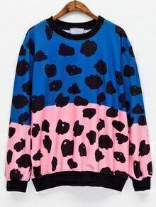 Color-block Abstract Print Sweatshirt