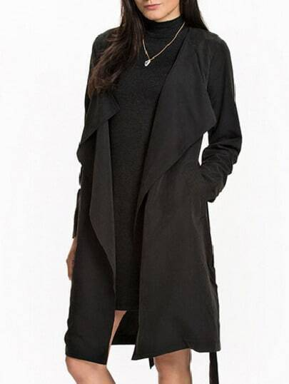 Black Drape Front Belt Coat