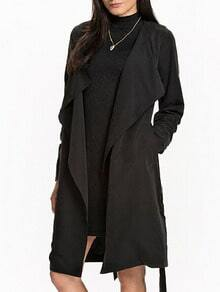 Black Drape Front Belt Coat
