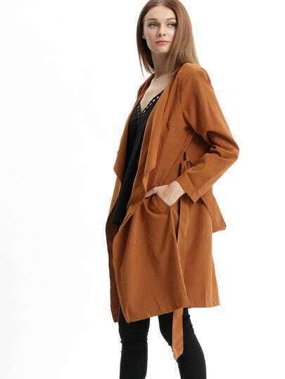 Coffee Drape Front Belt Coat
