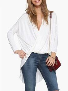 White V Neck Wraped High Low T-Shirt