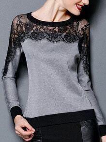 Grey Long Sleeve Lace Insert T-Shirt