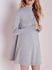 Grey Polo Neck Long Sleeve Loose T-Shirt