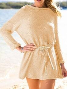 Yellow Long Sleeve Boatneck Sex Tricot Drawstring Sweater Dress
