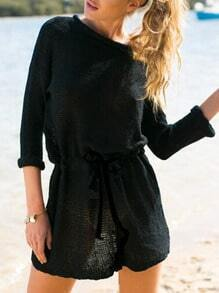 Black Long Sleeve Drawstring Sweater Dress
