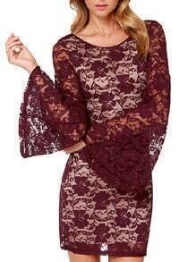 Wine Red Bell Sleeve Lace Bodycon Dress