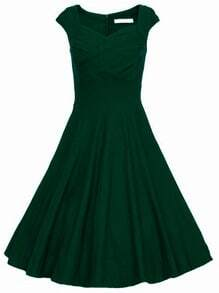 Dark Green Heart Shape Collar Sleeveless Flare Dress