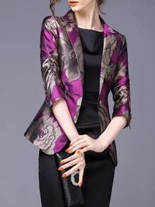 Purple Lapel Florals Single Button Blazer