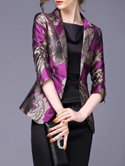 Purple Lapel Florals Single Button Blazer pictures
