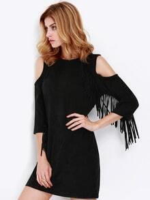 Black Long Sleeve Off The Shoulder Tassel Dress