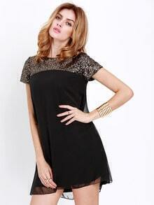 Black Short Sleeve Sequined Dress
