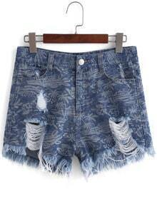 Blue Ripped Trees Print Denim Shorts