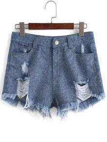 Blue Mid Waist Ripped Denim Shorts