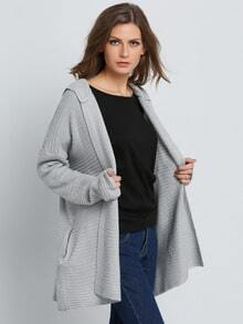 Grey Hooded Long Sleeve Knit Cardigan