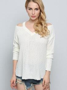 Beige Long Sleeve Off The Shoulder Sweater