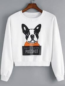 White Round Neck Dog Animals Print Crop Sweatshirt