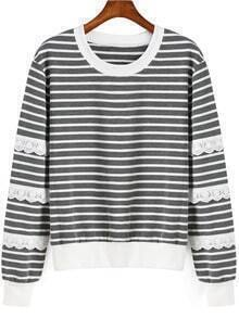 Grey White Round Neck Striped Sweatshirt