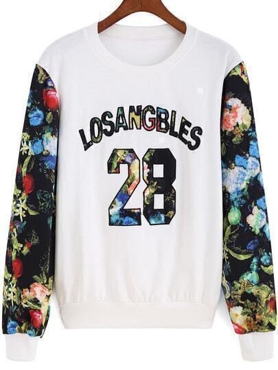 Multicolor Floral Letters 28 Print Sweatshirt