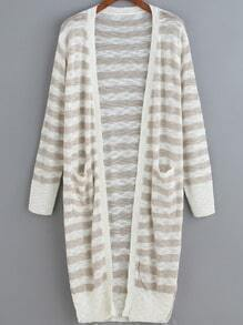 Khaki White Striped Pockets Knit Cardigan