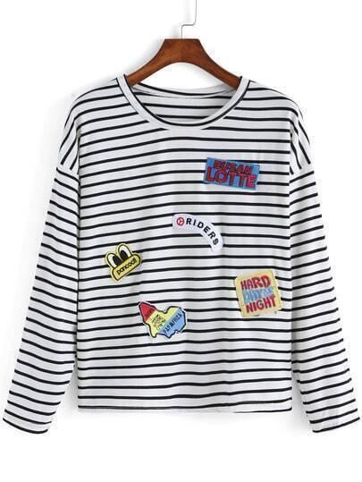 Black White Round Neck Striped Sign Sweater