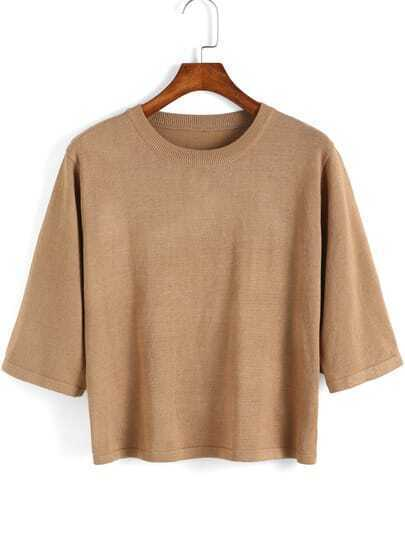 Khaki Round Neck Knit Crop Sweater