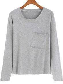 Grey Round Neck Pocket Casual T-Shirt