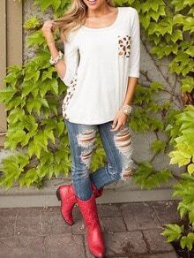 White Yellow Quilting Pane Colourblock Round Neck Leopard Pocket T-Shirt