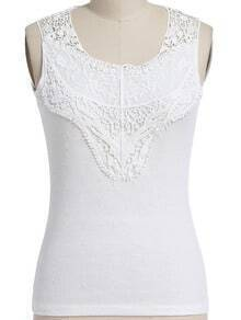 White Round Neck Lace Slim Tank Top