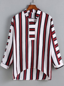 Red White Stand Collar Vertical Stripe Blouse