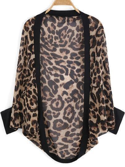 Leopard Half Sleeve Loose Chiffon Blouse