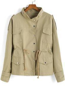 Khaki Stand Collar Drawstring Pockets Coat