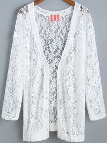 White Letters Print Sheer Lace Coat