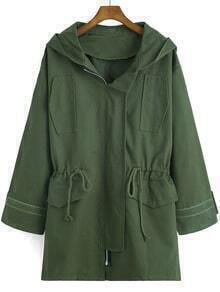 Army Green Hooded Drawstring Boyfriend Coat