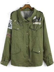 Army Green Lapel Epaulet Metal Embellished Coat